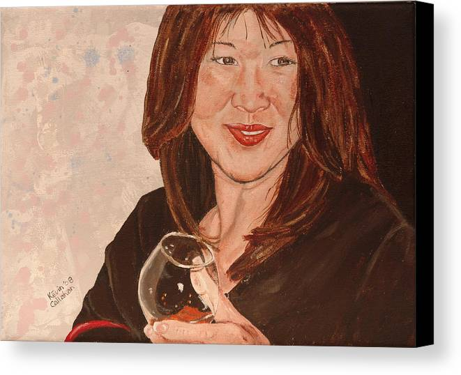 Brandy Canvas Print featuring the painting Tracey Comes To Dinner by Kevin Callahan