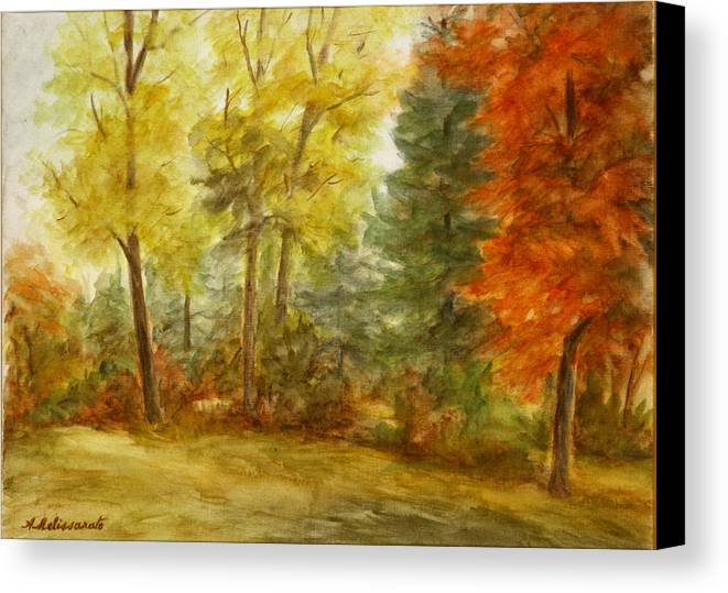 Landscape Canvas Print featuring the painting Trees At Fall by Artemis Melissarato