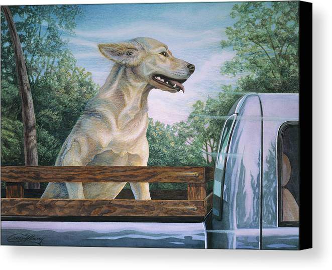 Dog In Truck Canvas Print featuring the painting Truck Queen by Craig Gallaway