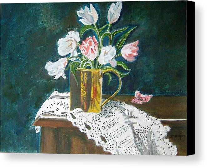 Tulips Canvas Print featuring the painting Tulips by Manjiri Kanvinde