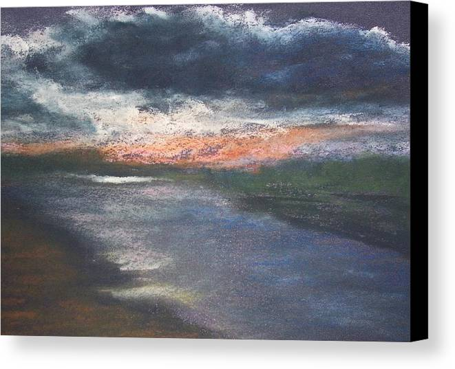 Sunset Canvas Print featuring the pastel Twilight On The Canal by Jackie Bush-Turner
