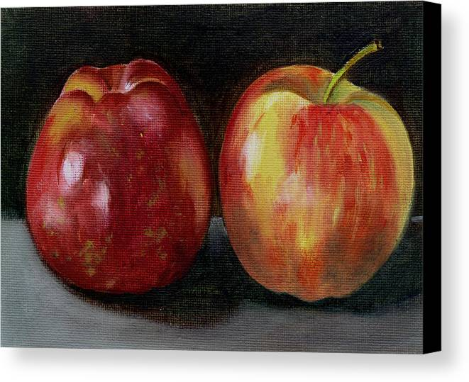 Oil Canvas Print featuring the painting Two Apples by Sarah Lynch