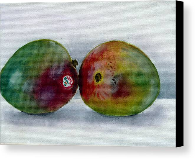 Still-life Canvas Print featuring the painting Two Mangoes by Sarah Lynch