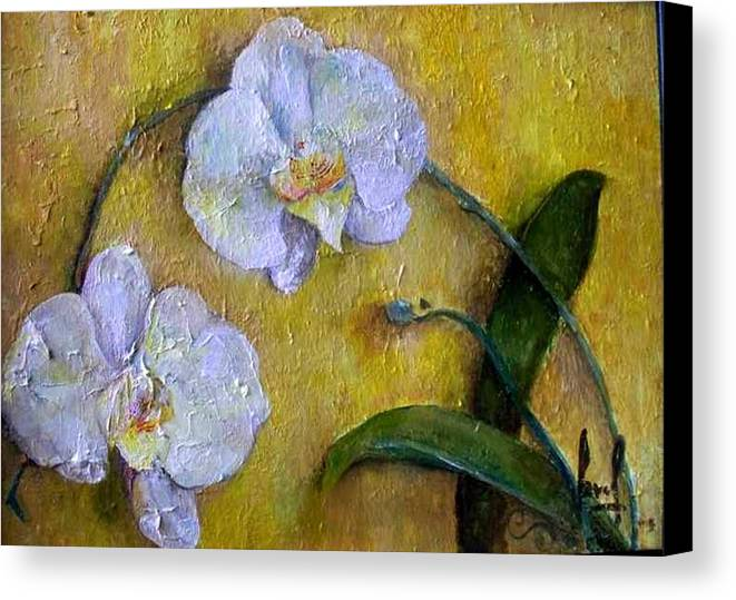Canvas Print featuring the painting Two White Orchids by Carol P Kingsley