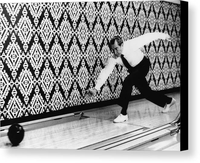 1970s Candids Canvas Print featuring the photograph U.s. President Richard Nixon, Bowling by Everett