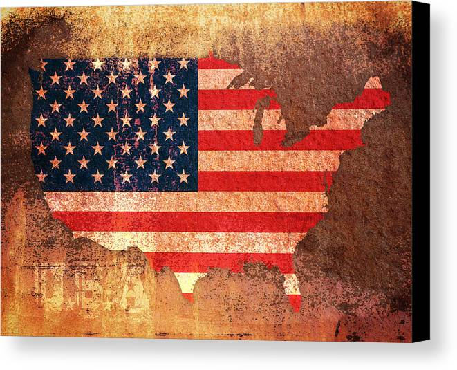 Us Flag Canvas Print featuring the digital art Usa Star And Stripes Map by Michael Tompsett