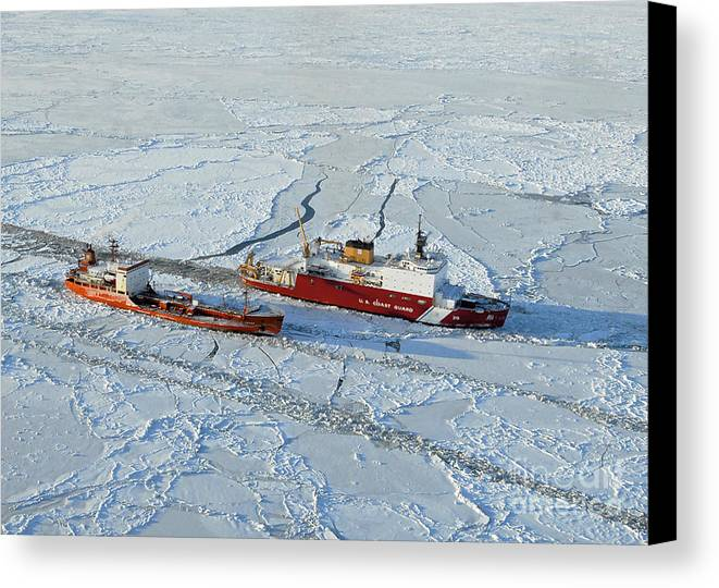 Us Coast Guard Canvas Print featuring the photograph Uscg Healy Breaks Ice by Stocktrek Images