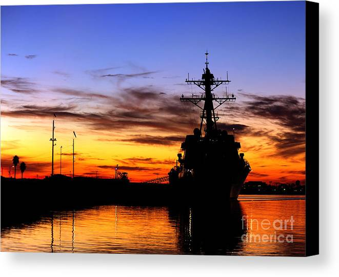 Sky Canvas Print featuring the photograph Uss Spruance Is Pierside At Naval by Stocktrek Images