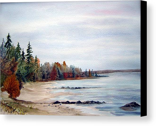 Victoria Beach Manitoba Shoreline Canvas Print featuring the painting Victoria Beach In Manitoba by Joanne Smoley