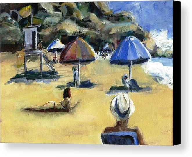 Umbrella Canvas Print featuring the painting Victoria Beach White Hat by Randy Sprout