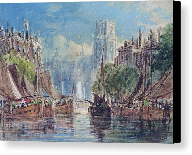 View Of Rotterdam Canvas Print featuring the painting View Of Rotterdam by George Chambers