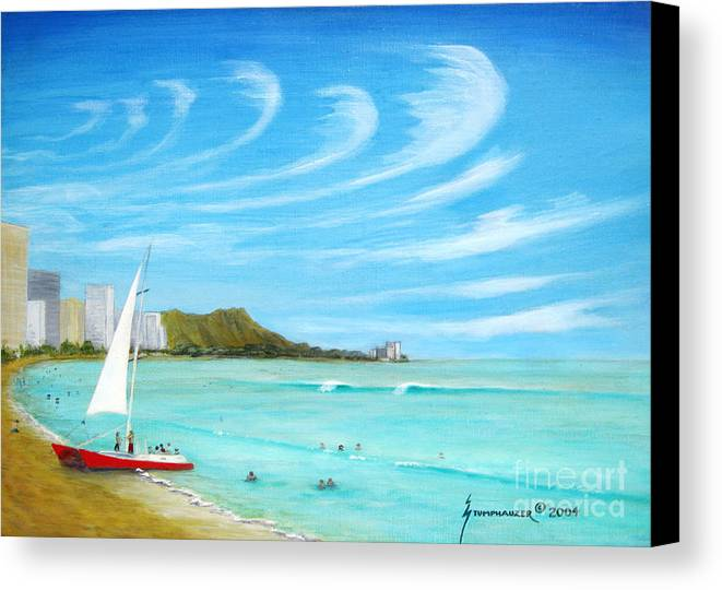 Waikiki Canvas Print featuring the painting Waikiki by Jerome Stumphauzer