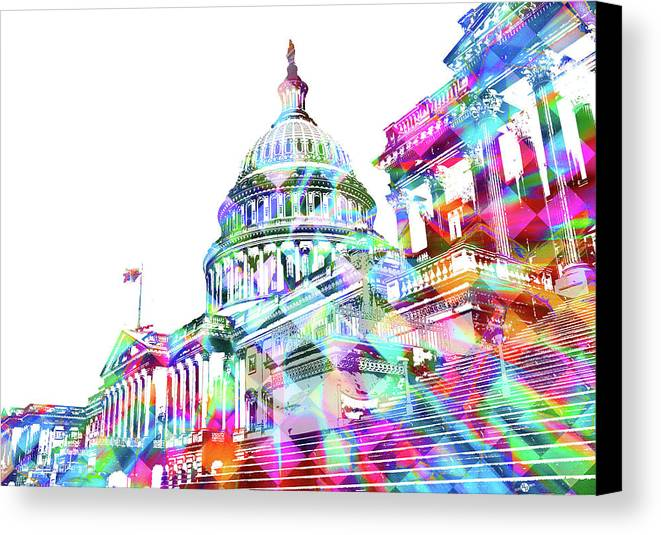 Capitol Canvas Print featuring the painting Washington Capitol Color 2 by Tony Rubino
