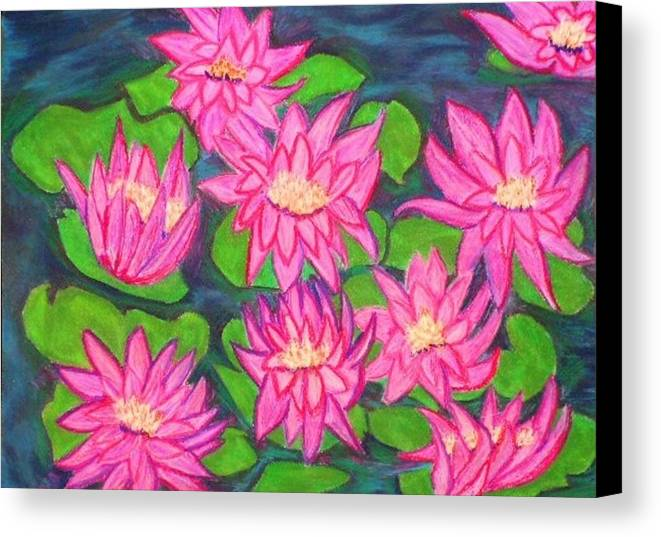 Landscape Canvas Print featuring the drawing Water Lillies by Katina Cote