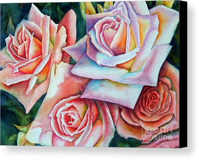 Floral Canvas Print featuring the painting Wedding Roses by Gail Zavala
