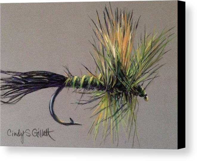 Still Life Canvas Print featuring the painting Western Green Drake by Cindy Gillett