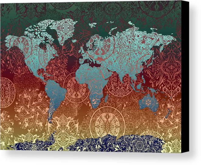World map mandala gold green canvas print canvas art by bekim art map of the world canvas print featuring the digital art world map mandala gold green by gumiabroncs Choice Image
