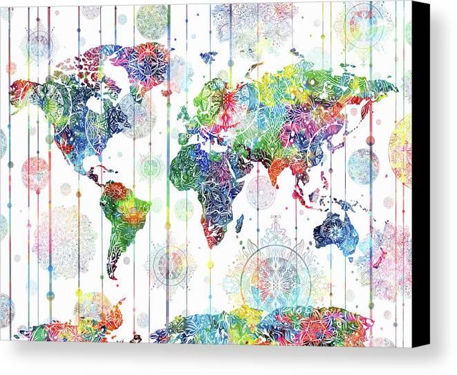 World Map Mandala White 1 Canvas Print / Canvas Art by Bekim Art