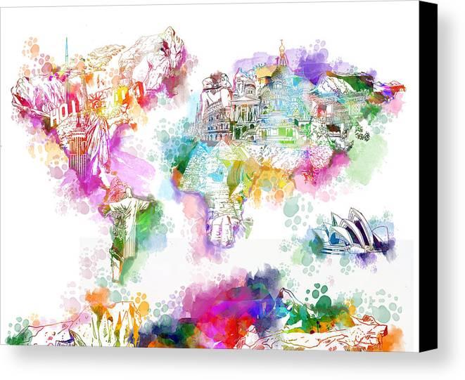 World map watercolor landmarks canvas print canvas art by bekim art map of the world canvas print featuring the painting world map watercolor landmarks by bekim art gumiabroncs Gallery