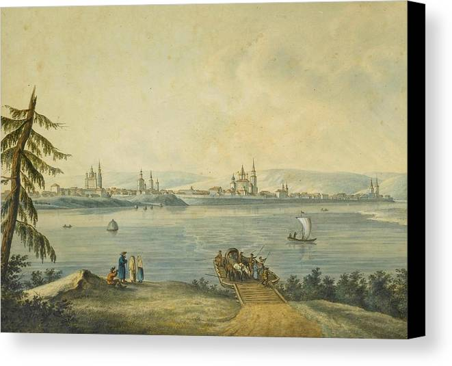 Attributed To Andrey Yefimovich Martynov (st. Petersburg 1768 - Rome 1826) The Port Of Nikola At The Mouth Of The River Angara & View Of Irkutsk Canvas Print featuring the painting Yefimovich Martynov by MotionAge Designs
