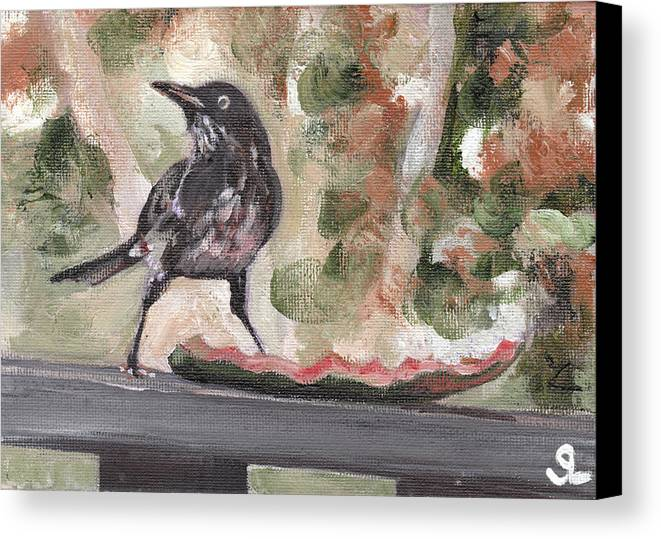 Puerto Rico Canvas Print featuring the painting Yellow Eyed Bird by Sarah Lynch