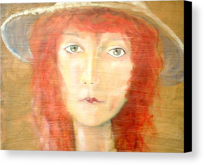 Woman Canvas Print featuring the painting You Found My Hat by J Bauer
