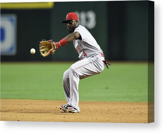 American League Baseball Canvas Print featuring the photograph Cincinnati Reds V Arizona Diamondbacks 1 by Norm Hall