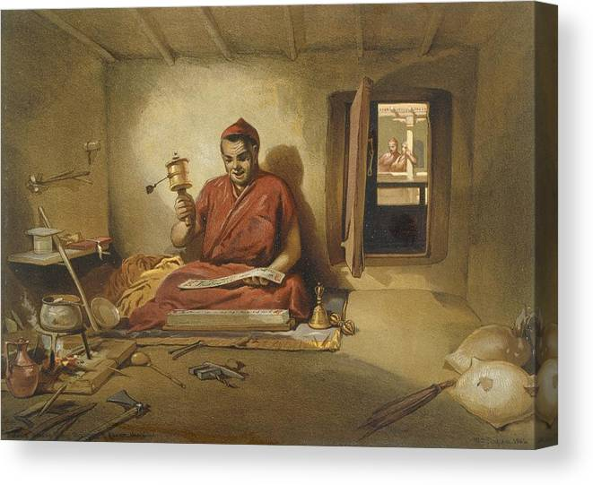 Indian Canvas Print featuring the drawing A Buddhist Monk, From India Ancient by William 'Crimea' Simpson