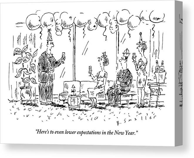 New Years Eve Canvas Print featuring the drawing A Man Makes A Toast At A New Years Party by Barbara Smaller