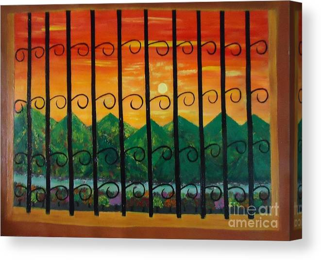 Sunrise Canvas Print featuring the painting Sunrise by Jnana Finearts