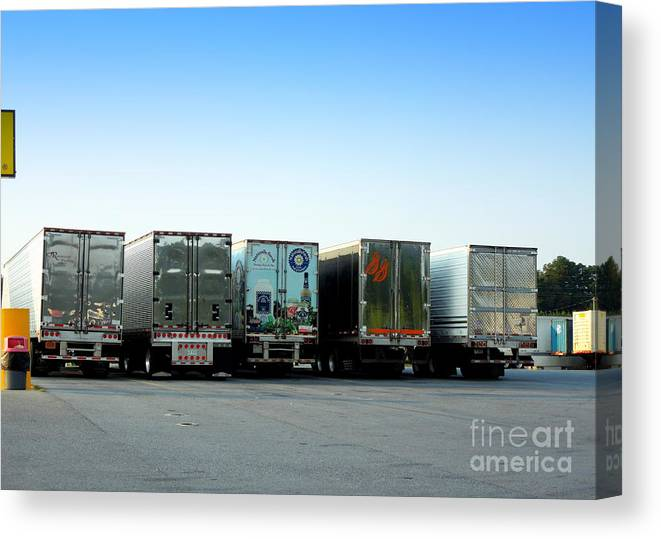 Truck Canvas Print featuring the photograph At A Truck Stop by Renee Trenholm