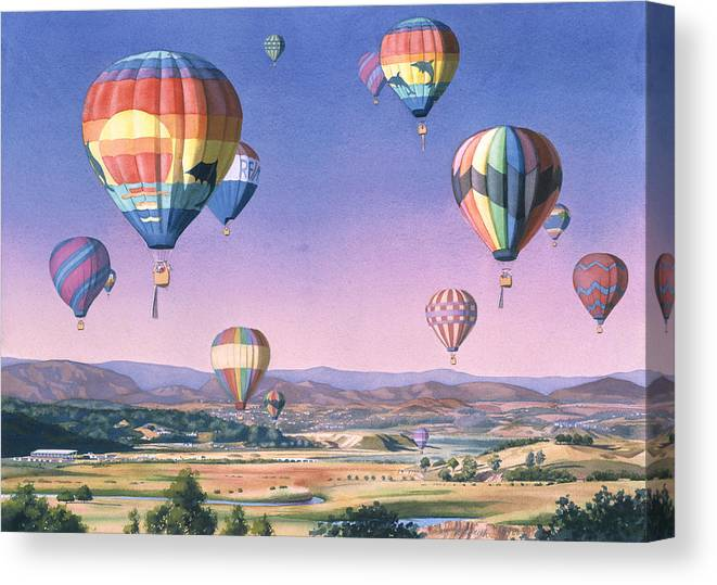 Balloons Canvas Print featuring the painting Balloons Over San Dieguito by Mary Helmreich