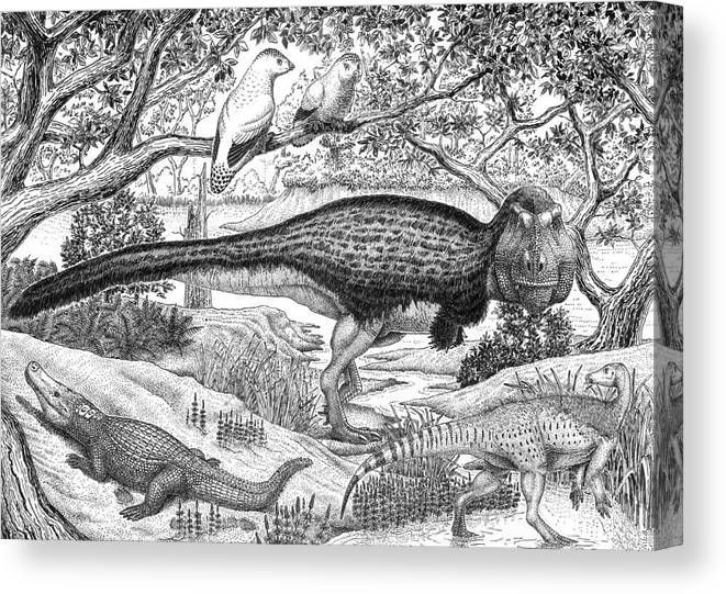 Image of: Animals Coloring Digital Enhancement Canvas Print Featuring The Digital Art Black Ink Drawing Of Extinct Animals By Vladimir Observation Deck Kinja Black Ink Drawing Of Extinct Animals Canvas Print Canvas Art By