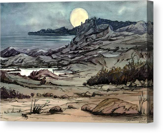 Seascape Canvas Print featuring the painting Blue Night by Mikhail Savchenko