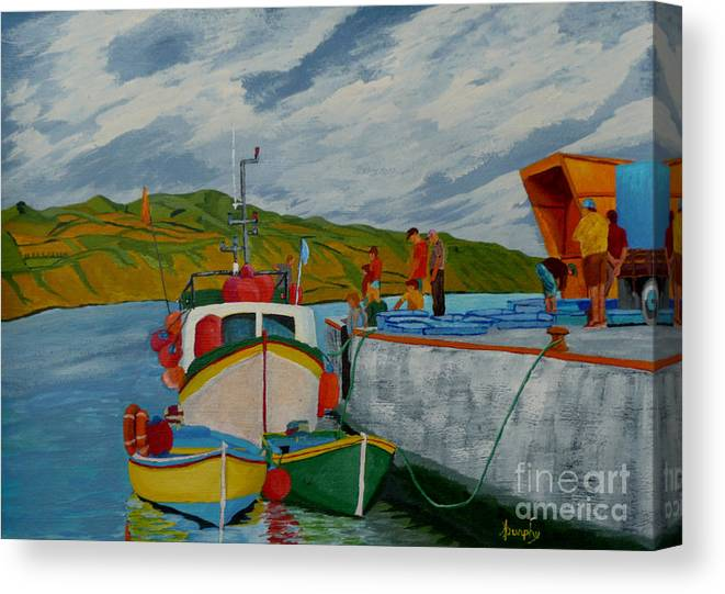 Boats Canvas Print featuring the painting Catch Of The Day by Anthony Dunphy