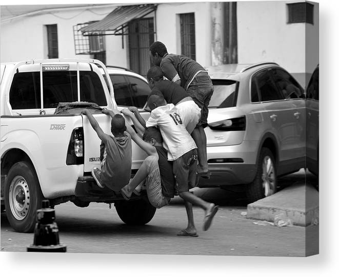 Happy Canvas Print featuring the photograph Catching A Ride by Ivan SABO