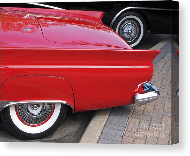 Classic Car Canvas Print featuring the photograph Classic Red And Black by Ann Horn