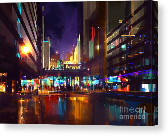 City Canvas Print featuring the digital art Crowds Of People At A Busy Crossing In by Tithi Luadthong