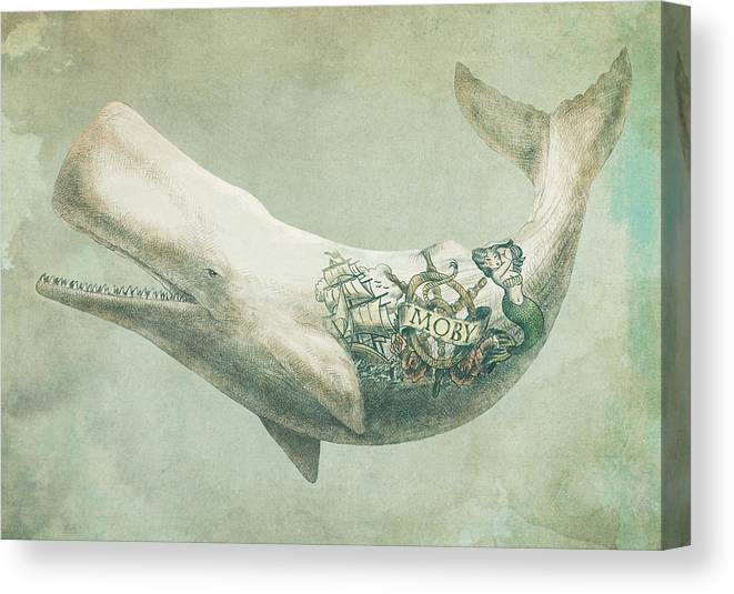 Whale Canvas Print featuring the drawing Far And Wide by Eric Fan