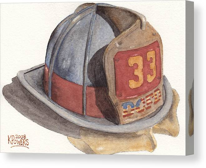 Fire Canvas Print featuring the painting Firefighter Helmet With Melted Visor by Ken Powers