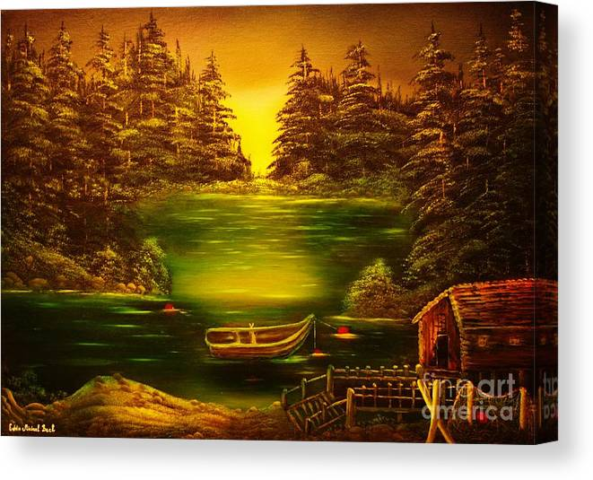 Fisherman Canvas Print featuring the painting Fishermans Cabin-original Sold- Buy Giclee Print Nr 32 Of Limited Edition Of 40 Prints by Eddie Michael Beck