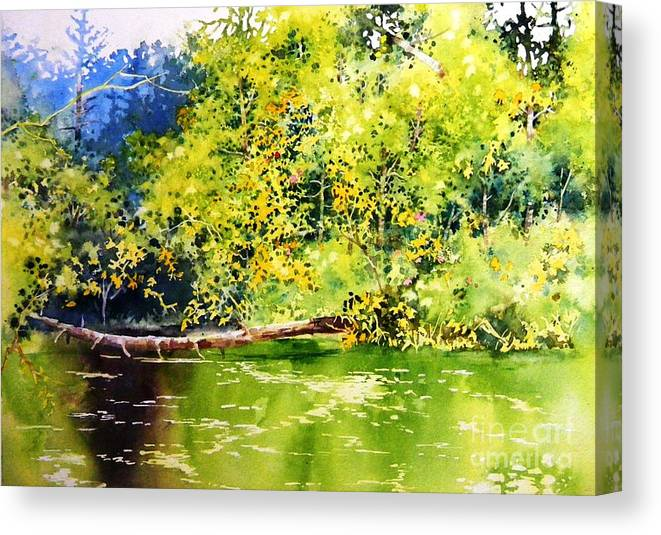 Waterside Canvas Print featuring the painting Fishing Pond by Celine K Yong