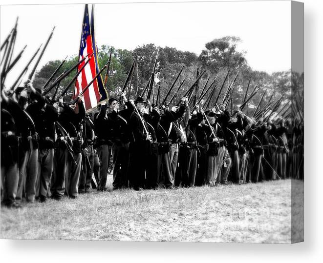 Civil War Canvas Print featuring the photograph Freedom Fire by Conni Walker