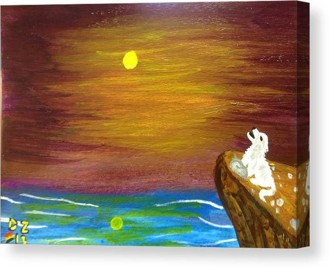 Wolf Canvas Print featuring the painting Full Moon Wolf by Diego Zegarra