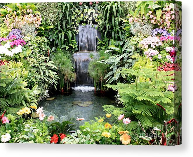 Garden Canvas Print featuring the photograph Garden Waterfall by Carol Groenen