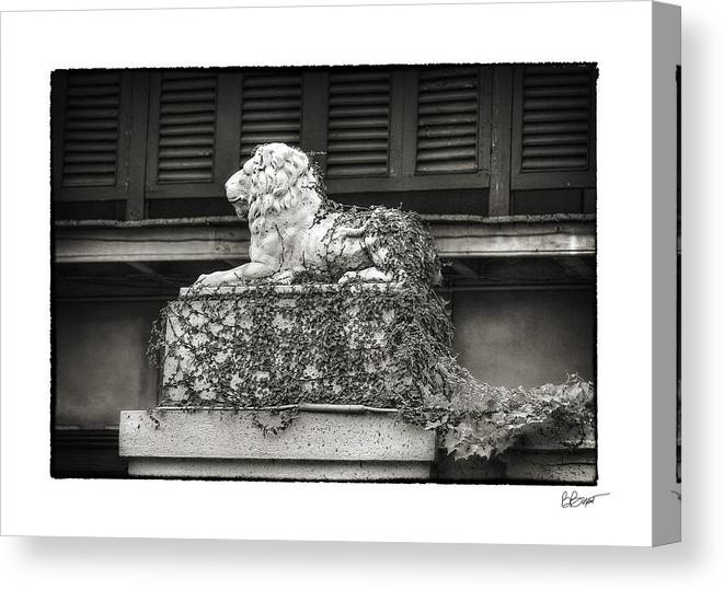 New Orleans Canvas Print featuring the photograph Guardian In Black And White by Brenda Bryant