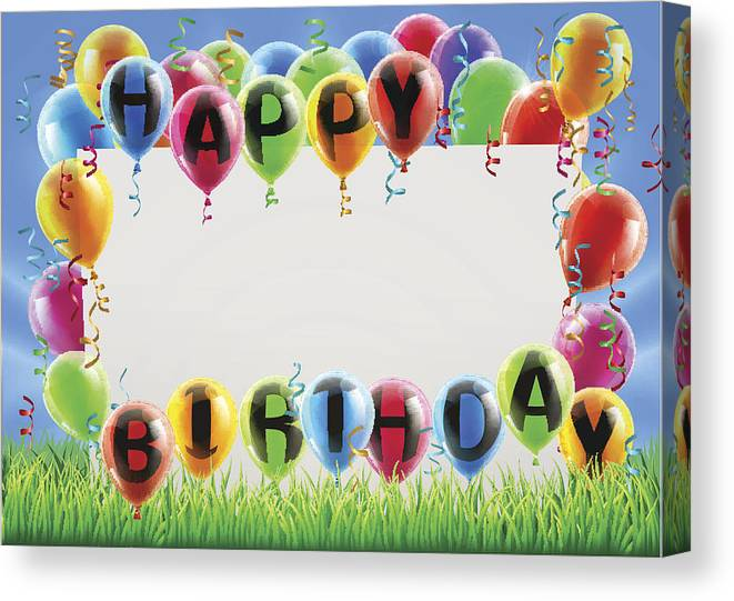 photo about Happy Birthday Printable Sign titled Pleased Birthday Indication Canvas Print