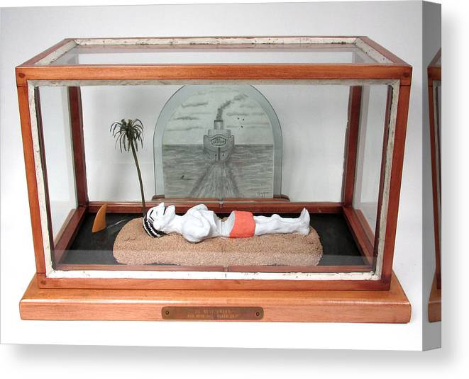 Found Objects Canvas Print featuring the mixed media H.c. Westermann Run Over By A Death Ship by Czappa