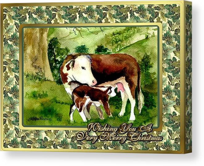 Hereford Cow And Calf Blank Christmas Card Canvas Print featuring the painting Hereford Cow And Calf Blank Christmas Card by Olde Time Mercantile