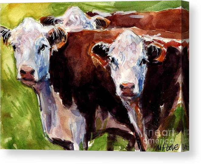 Hereford Cows Canvas Print featuring the painting Hereford Ears by Molly Poole